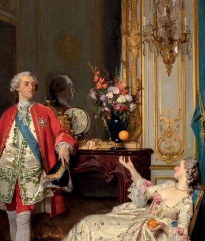 Joseph CARAUD (1821-1905) Louis XV et Madame du Barry, 1859 Huile sur toile signée...