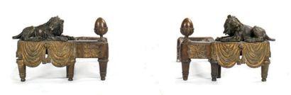Paire de chenets en bronze ciselé à double...