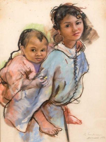 ZinaÏda SEREBRIAKOVA (1884-1967) Mère et enfant, 1932 Pastel Signé en bas à droite,...