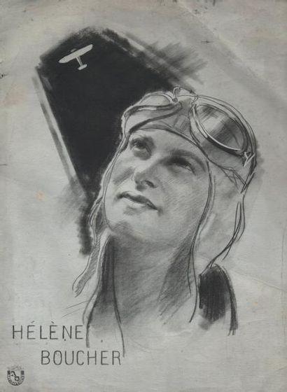 «Hélène Boucher». Dessin à la mine de plomb...