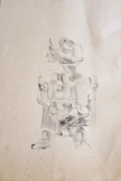 ANASTASE Sans titre / Graphite noir sur papier Aussedat / Signé et daté 22.4.74 en...