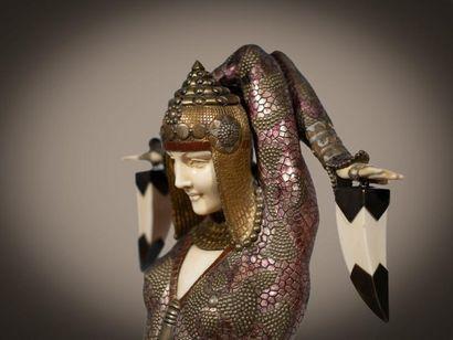 Demeter CHIPARUS (1886-1947) * Civa ou Shiva Rare sculpture chryséléphantine à patine...