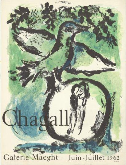 Marc CHAGALL - 1962 Galerie Maeght Affiche française imprimée en lithographie, très...