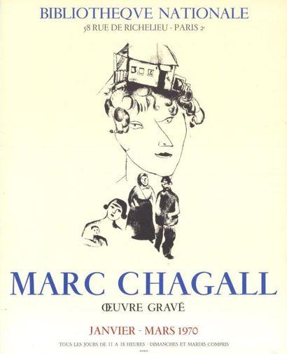 Marc CHAGALL - 1970 Bibliothèque Nationale - Marc Chagall œuvre gravé Affiche française...