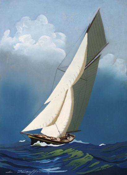 Léon HAFFNER (1881-1972) « Yacht vu par l'avant » Gouache au pochoir, signée en bas...