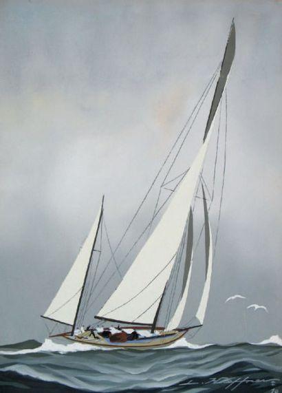 Léon HAFFNER( 1881-1972) « Ketch vue par arrière tribord » Belle gouache au pochoir,...