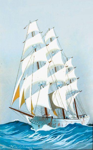 Léon HAFFNER (1881-1972) « Un trois-mâts carrés plein vent arrière » Gouache au pochoir,...