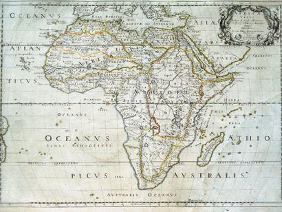 Rare carte de l'Afrique XVIIe siècle Rehauts...