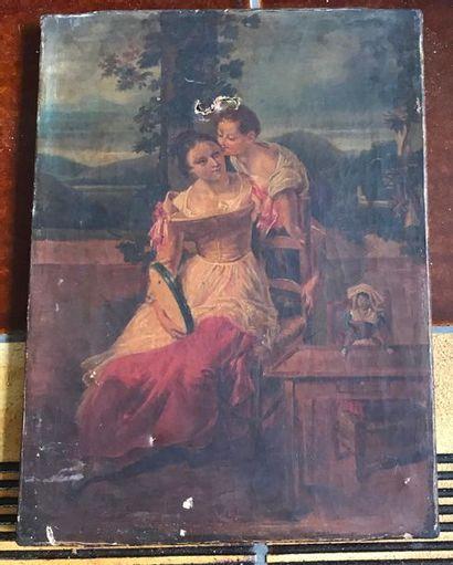Jeune fille embrassant sa mère Huile