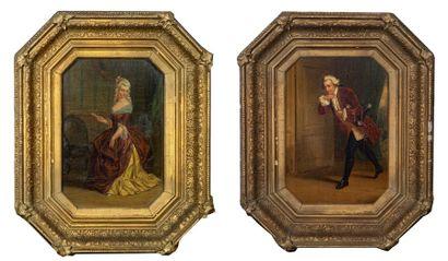 Henri Jozef DILLENS (1812-1872) Couple de...