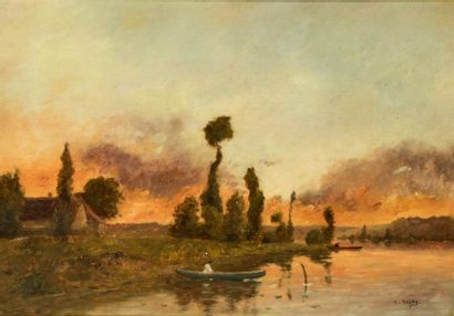 Jacques Henri DELPY (1877-1957) Bord de rivière,...