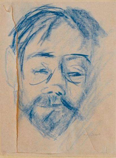 Portrait d'homme Dessins au crayon bleu Fendu...