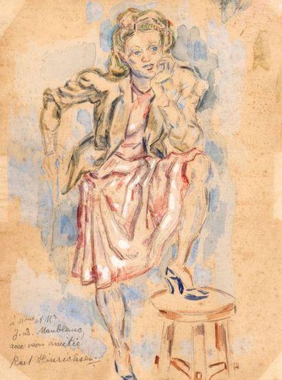Kurt HEINRICHSEN (1901-1963) Femme au tabouret...