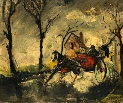 A. MARCUS (XXe siècle) La Carriole Huile...