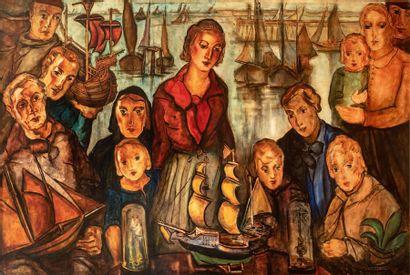 Jean VERVISCH (1896-1977) Dans un port du...