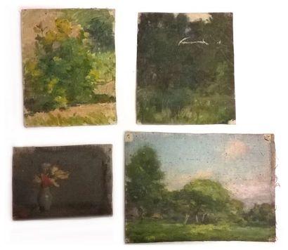Jules-Cyrille Cavé (1859-c.1940)  13 études de paysages, fleurs et nature morte...