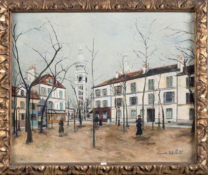 Maurice UTRILLO (1883-1955) Place du Tertre Huile sur toile Signée en bas à droite...
