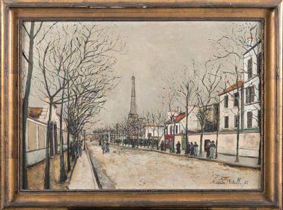 Maurice UTRILLO (1883-1955) Avenue de Versailles et la tour Eiffel Huile sur toile...