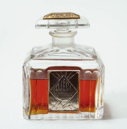 GUERLAIN « Djedi » Flacon en cristal créé par le sculpteur Georges Chevalier, style...