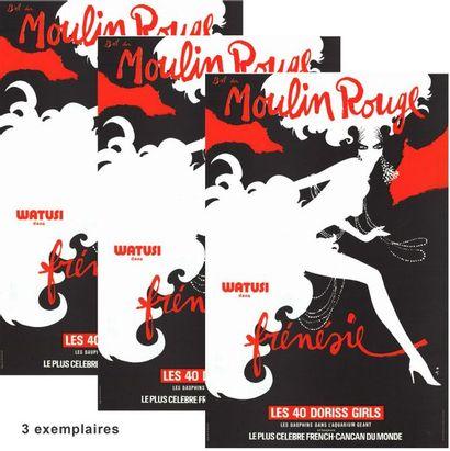René GRUAU - MOULIN ROUGE - 3 exemplaires