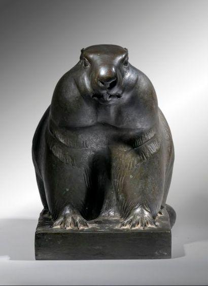 Edouard Marcel SANDOZ (1881-1971) Marmotte à l'arrêt Rare épreuve en bronze à patine...