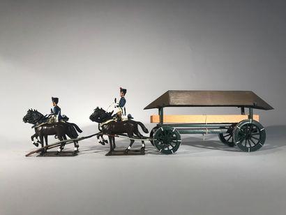 Ier Empire. Pont de bateaux attelé à 4 chevaux....