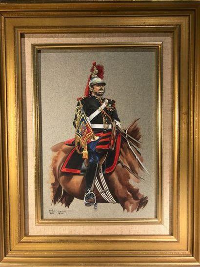 Pierre Conrad. Peinture sur carton d'un trompette...