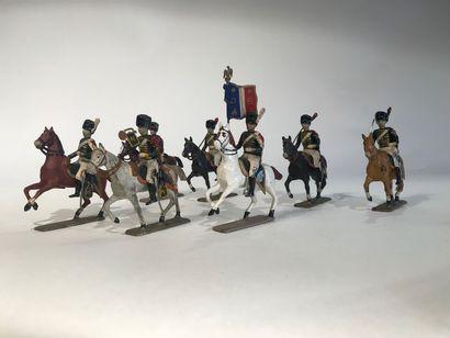 Ier Empire. France. Chasseurs de la Garde à cheval. Ce lot comprend 1 officier,...