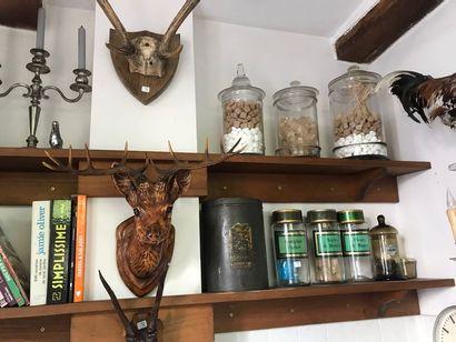 Etagère,  carafe,  suspension,  pots à pharmacie,...