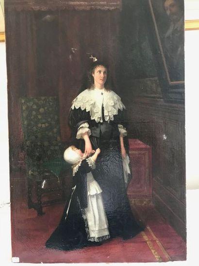Charles HUE  Mère et enfant  Huile sur toile signée (accident)