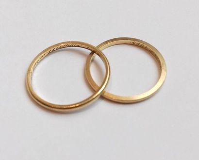 Deux alliances en or jaune 18K (750°/00). TDD: 58 et 60. PBT: 3.49 g