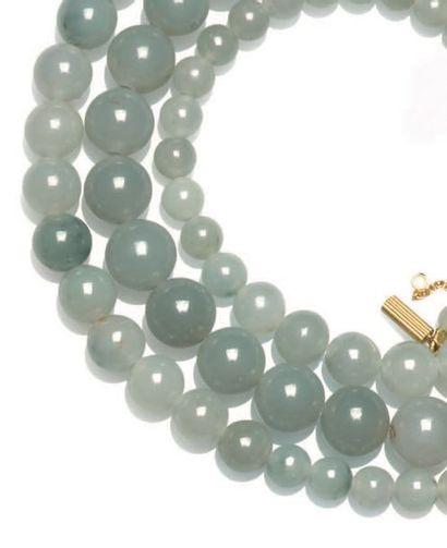 Long collier de perles de jade jadéite en...