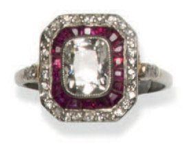 Bague Art Déco en or 18K (750°/00) diamant...