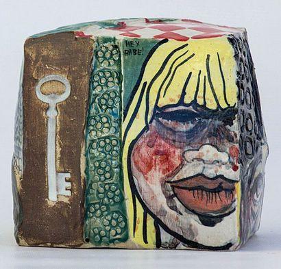 LE MANCQ Mathilde Life sucks / Cube en grès décoré sous glaçure / Pièce unique /...