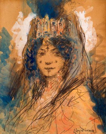 Lucien Levy-Dhurmer (1865-1953) Berbère au diadème Pastel, aquarelle et gouache Signé...