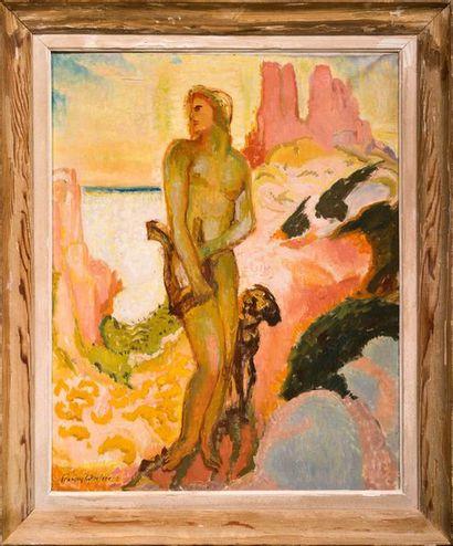 François QUELVEE (1884-1967) Apollon et sa lyre Huile sur toile Signée en bas à gauche...