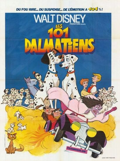 2 ex. - ONE HUNDRED AND ONE DALMATIANS - 1961 Affiche Française, Ressortie 120x160cm...