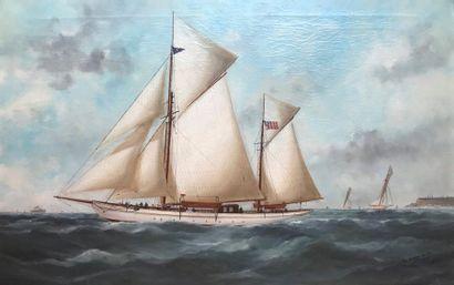Marie Edouard ADAM (1847-1929) Portrait du navire yacht Américain en régate portant...