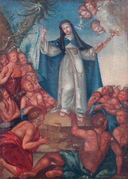 Ecole ESPAGNOLE du XVIIIe siècle « Vierge intercédant pour les indiens » Huile sur...