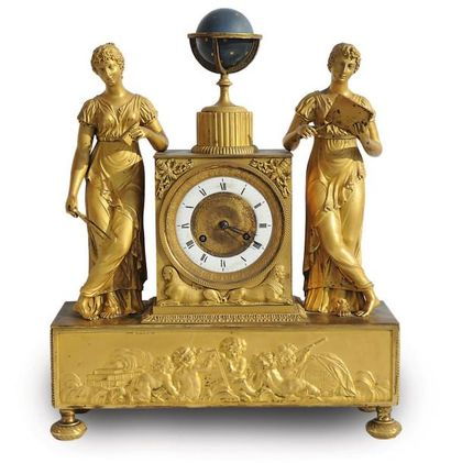 Pendule allégorique en bronze ciselé et doré,...