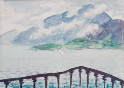Jean SOUVERBIE (1891-1981) « Vue de Bellagio, 1948 » Aquarelle sur 2 feuilles, signée,...