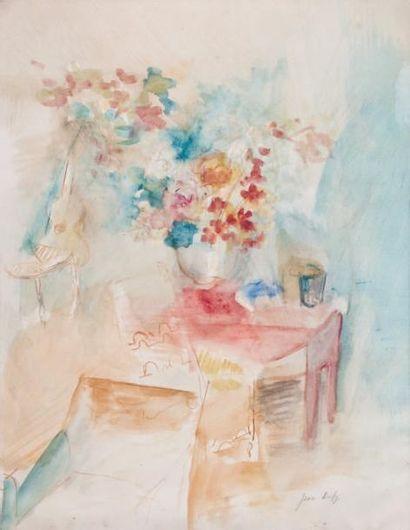 Jean DUFY (1888-1964) « Scène d'intérieur au bouquet » Aquarelle, signée en bas à...