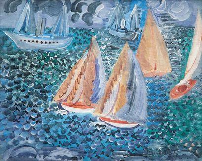Raoul DUFY (1877-1953) « Régates au Havre, circa 1925 » Huile sur toile, signée en...