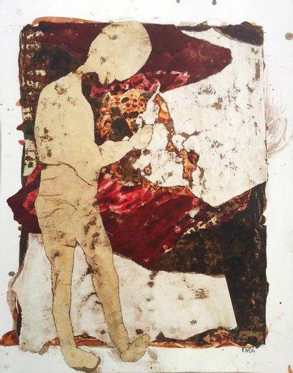 KOLÉ Terre d'âme / Collage et acrylique sur papier / SBD / 35 x 28 cm