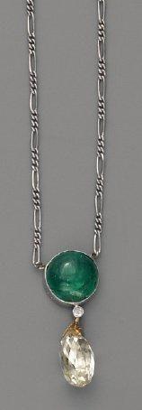 Pendentif diamant Briolette et émeraude