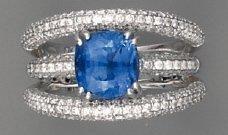 Bague jonc, saphir (3,70 cts env.) et diamants,...