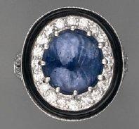 Bague saphir BIRMAN, diamants et onyx