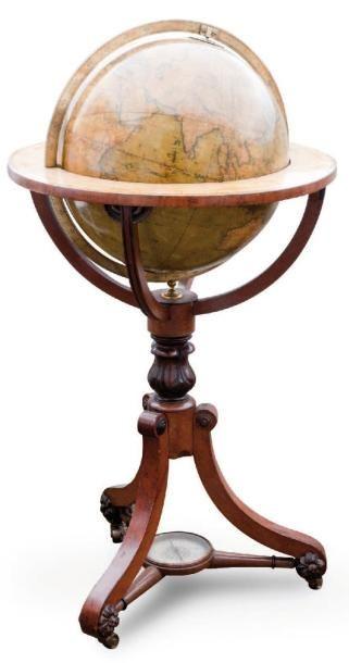 Globe de parquet signé G.F. CRUCHLEY, fleet...
