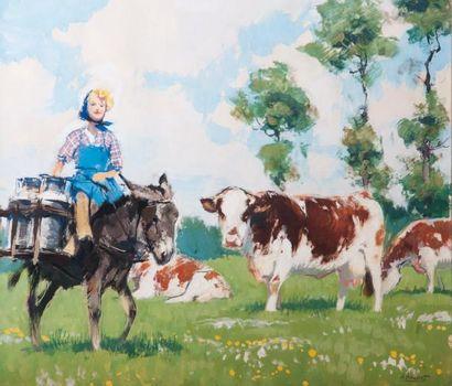Albert BRENET (1903-2005) « La laitière » Gouache, signée en bas à droite. 33,5 x...