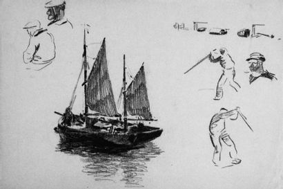 Albert BRENET (1903-2005) « Chalutier sous voile, étude de matelots » Dessin au crayon...
